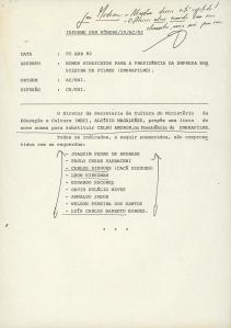 Documento divulgado por  Elio Gaspari