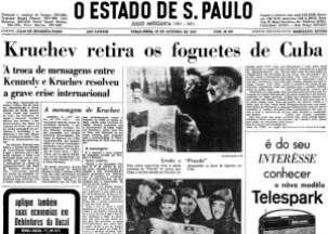 Capa do jornal O Estado de S. Paulo de 30 de outubro de 1962, noticiando o fim da crise dos mísseis cubanos. Fonte: Estadão.
