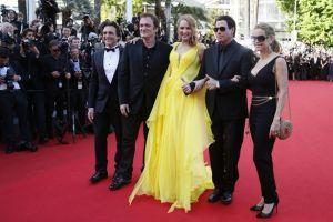 Tarantino com John Travolta e Uma Thurman