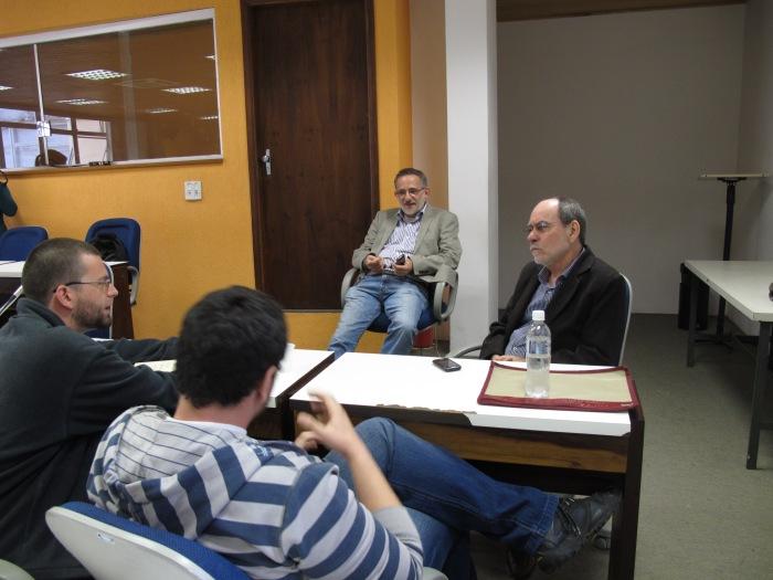Em destaque: Wilton José Marques e Luiz Roncari durante a entrevista