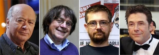 Os cartunistas mortos no atentado: Georges Wolinski, Cabu, Charb e Tignous