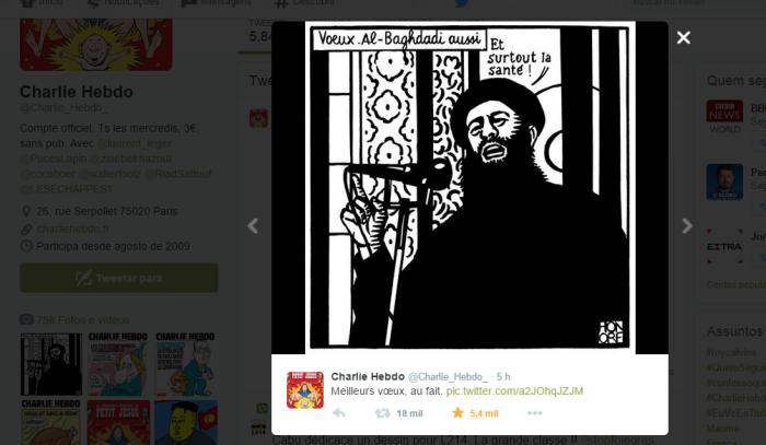 Último twitter do Charlie Hebdo antes do atentado
