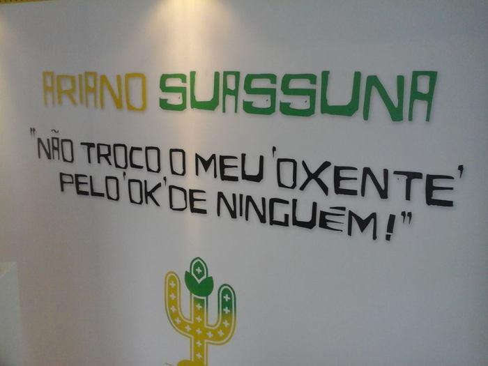 Detalhe do estande do Brasil, que fez homenagem a Ariano Suassuna na Feira Internacional do Livro de Bogotá