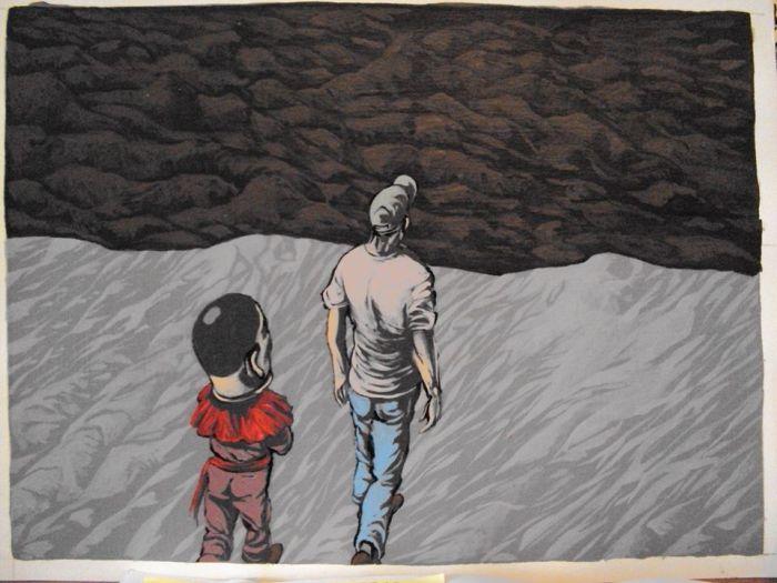 Quando Meu Pai Se Encontrou Com o ET Fazia Um Dia Quente Acrílica sobre papel - 26×19 – 2010/2011 R$ 1.000,00