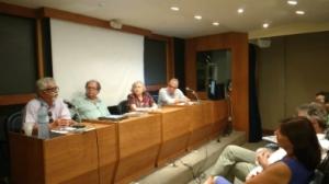 Da esquerda para direita, professor Alcmeno Bastos, pesquisador José Almino de Alencar, Ana Arruda Callado e professor Eduardo Jardim (Foto: Alessandra de Paula/Ascom MinC)