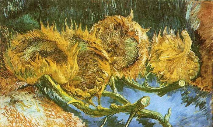 Vincent van Gogh - Four Cut Sunflowers.