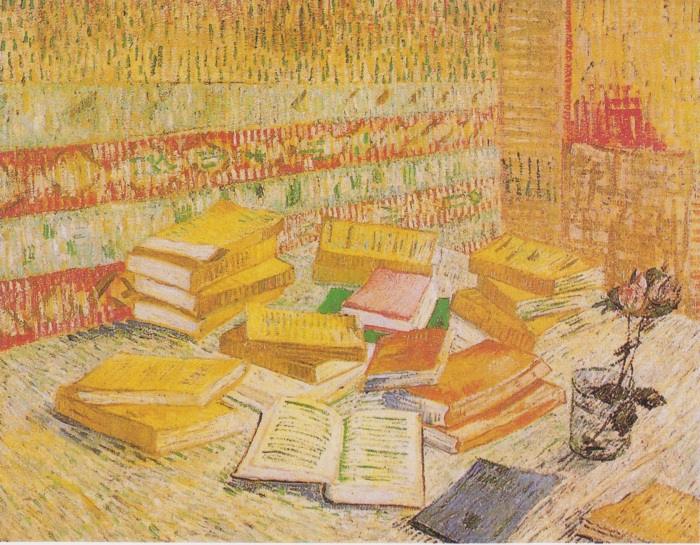Still Life with French Novels and Glass with a Rose, de 1887, por Vincent van Gogh