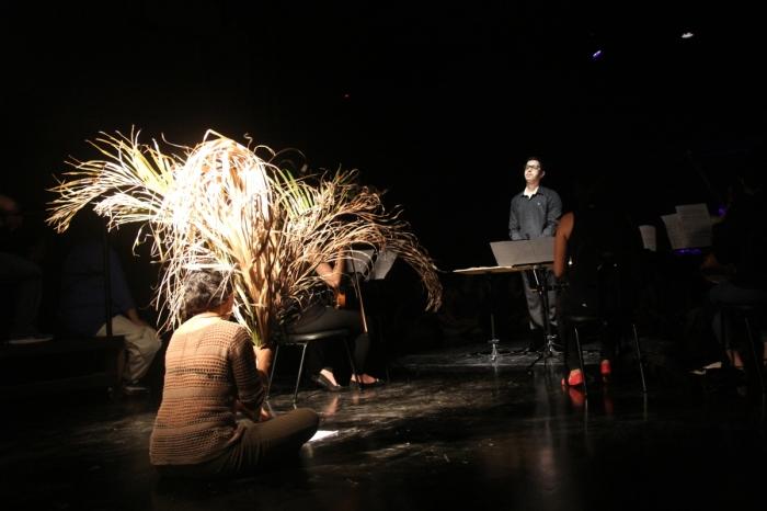 Instrumentista utiliza galho de árvore durante a apresentação do Concerto ECO em outubro de 2016- foto José Romero